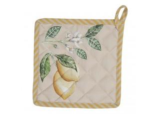 Bavlněná podložka pod hrnec s motivem citrónů Lemons & Leafs - 20*20 cm