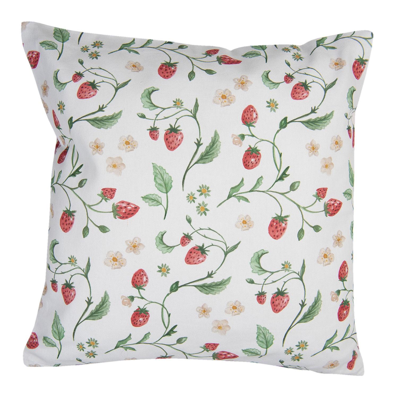 Levně Clayre & Eef Povlak na polštář s motivem lesních jahod Wild Strawberries - 40*40 cm