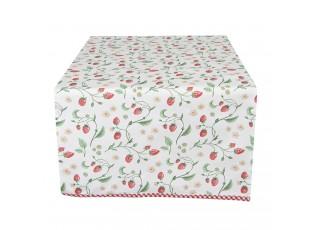 Bavlněný běhoun na stůl s motivem lesních jahod Wild Strawberries - 50*140 cm