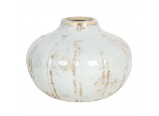 Pastelově modrá keramická váza s patinou - Ø 18*13 cm