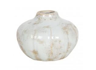 Pastelově modrá keramická váza s patinou - Ø 14*11 cm