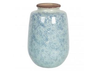 Velká vintage keramická váza s kvítky Bleues – Ø 17*26 cm
