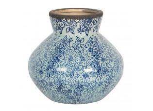 Keramická váza s modrými kvítky ve vintage stylu Bleues – Ø 18*16 cm