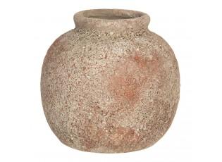 Světle hnědá váza s odřeninami a patinou - Ø 8*8 cm