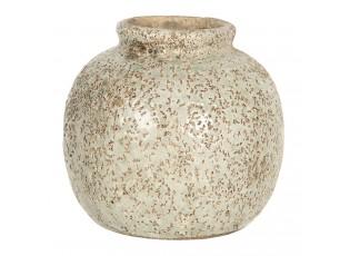 Světle hnědá váza s dirkovaným dekórem - Ø 8*8 cm