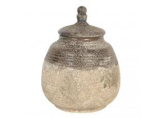 Hnědá dekorativní dóza s patinou a odřeninami - Ø 15*19 cm