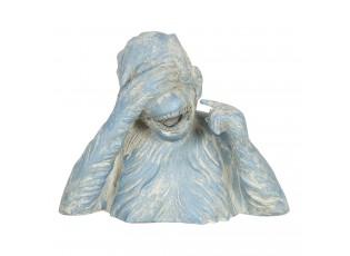 Modro-krémová dekorace smějící se opice Singe - 24*11*19 cm