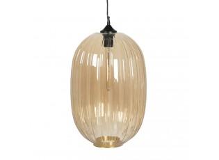 Béžové skleněné závěsné světlo s žárovkou Gatien - Ø 32*55*160 cm