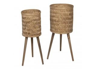 Set 2ks dřevěno - bambusových květináčů na nožkách Ammy - Ø 38*71 / Ø 32*67 cm