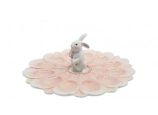 Stojan na vejce s dekorací králíka v růžové barvě – Ø 30*11 cm