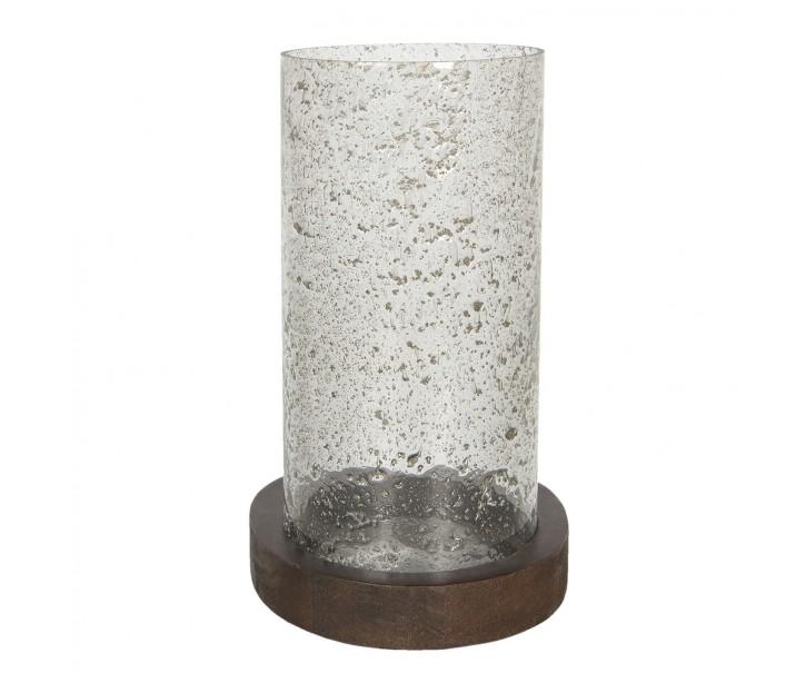 Skleněný svícen Oliv s kovovou podestou - Ø 22*33 cm