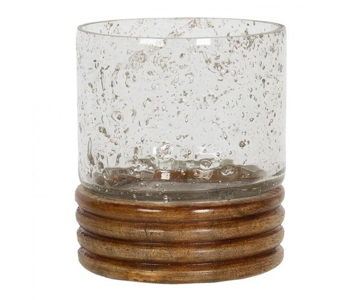 Skleněný svícen na čajovou svíčku s dřevěnou podestou - Ø 9*10 cm