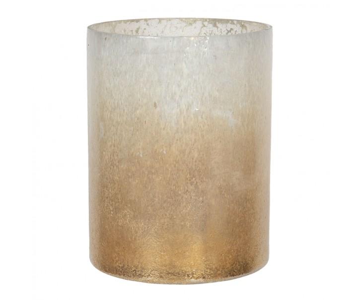 Zlato bílý svícen na čajovou svíčku - Ø 15*20 cm