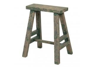 Vysoká dřevěná zelená dekorační stolička s patinou - 39*29*47 cm