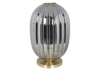 Šedá stolní lampa se zlatým podstavcem Gatien – Ø 20*35 cm E14/max 1*40W