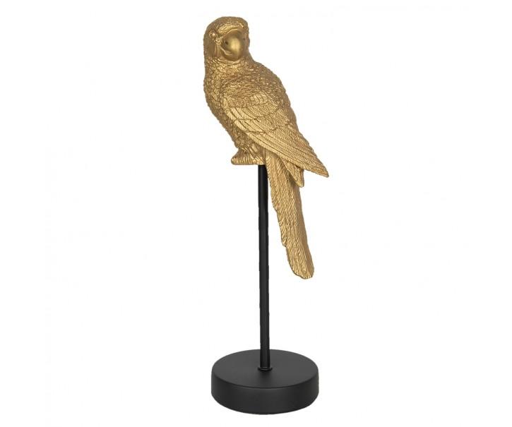 Zlatý dekorační papoušek na černém podstavci - 11*10*36 cm