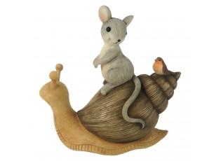 Dekorace sedící myška s ptáčkem na šnekovi - 13*6*13 cm