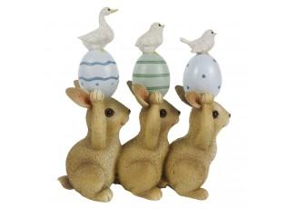 Velikonoční dekorace králíků s vajíčky - 12*4*12 cm