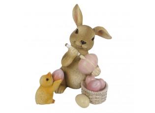 Velikonoční dekorace králíčka s vajíčky - 9*9*13 cm