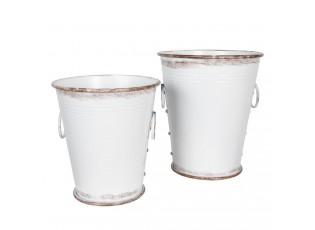 Bílé kyblíky s patinou (2) - Ø 37*42 / 32*35 cm