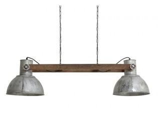 Závěsné světlo Elay 2 lampy stříbrná vintage - 110*30*30 cm