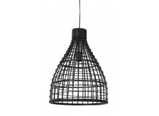 Černé ratanové závěsné světlo Puerto - Ø 40*51cm