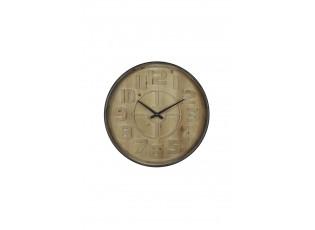 Dřevěné nástěnné hodiny s kovovým rámem- Ø 60*6cm