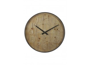 Dřevěné nástěnné hodiny s kovovým rámem Logan - Ø 80*6cm