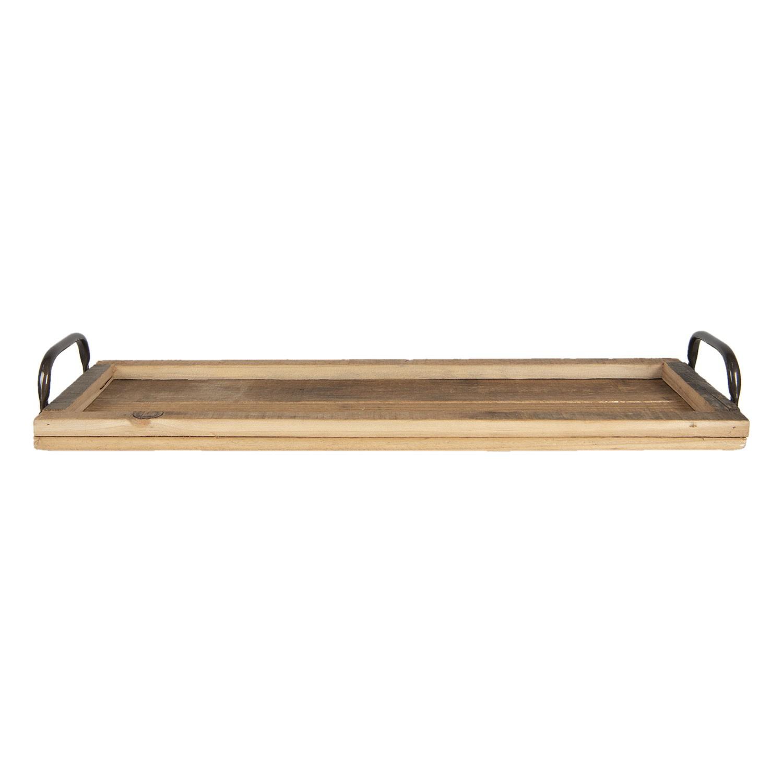 Clayre & Eef Dřevěný dekorativní tác s uchy - 60*18*7 cm