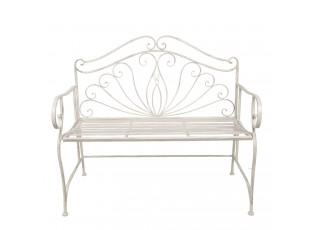 Bílá zdobená kovová lavice Gulia s patinou a odřeninami- 104*57*94 cm