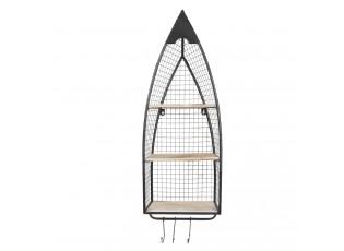 Černý nástěnný kovový stojan Chiara s poličkami - 30*15*83 cm