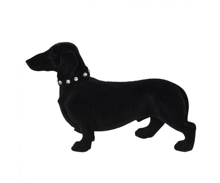 Černá dekorační soška jezevčíka s obojkem - 22*8*14 cm