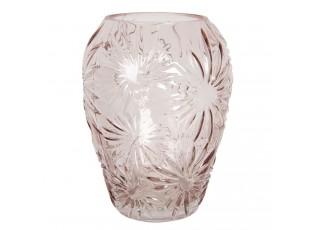 Růžová skleněná váza s květy Jasmina – Ø 22*30 cm