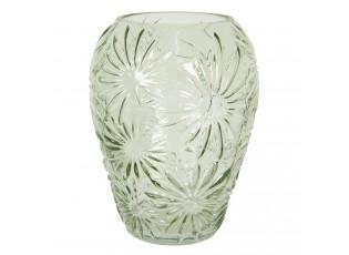 Zelená skleněná váza s květy Jasmina – Ø16*20 cm