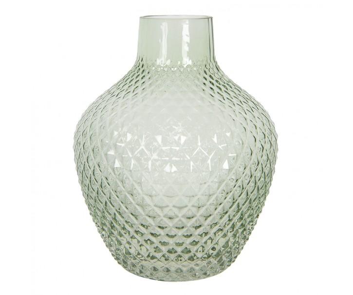 Zelená skleněná váza s úzkým hrdlem Rosamina – Ø 21*25 cm