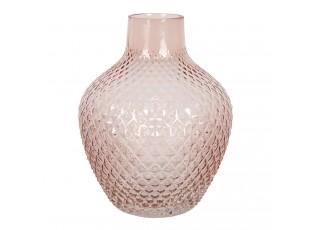 Růžová skleněná váza s úzkým hrdlem Rosamina – Ø 16*20 cm