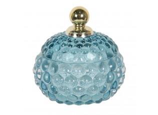 Modrá skleněná dóza se zlatou úchytkou na víčku Le Pastel - Ø 10*11 cm