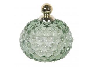 Zelená skleněná dóza se zlatou úchytkou na víčku Le Pastel – Ø 10*11 cm