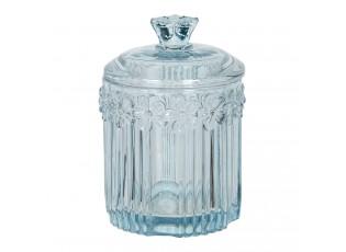 Modrá skleněná dóza s víkem Le Pastel – Ø 8*12 cm