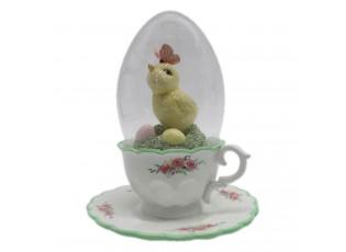Velikonoční dekorace Kuře ve skleněném vajíčku - 12*15 cm