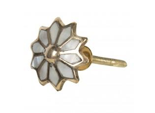 Vintage úchytka ve tvaru květiny se zlatým rámováním – Ø 3 cm