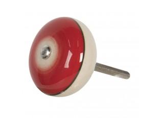Červená kulatá úchytka ve vintage stylu Cercle – Ø 4*3 cm