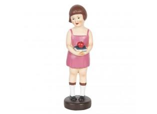 Dekorativní soška dívky s knihou a jablkem - 8*8*29 cm