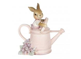 Dekorace králíčka v růžové konvici - 10*6*11 cm