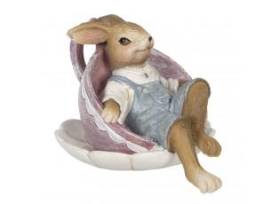 Dekorace králíčka odpočívajícího v šálku - 11*8*7 cm