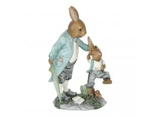 Velikonoční dekorace králíka tahajícího králíčka za uši - 12*7*19 cm