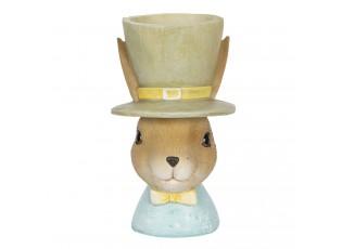 Dekorace králíka s držákem na vejce v klobouku - 7*7*12 cm
