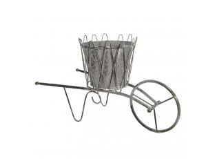 Kovový stojan na květiny ve tvaru kolečka Floxy - 45*21*26 cm