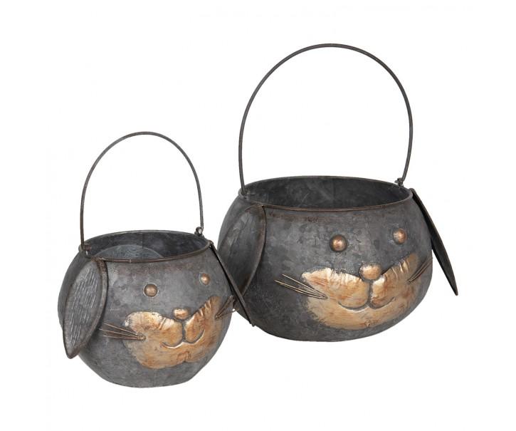 Kovový stojan na květiny ve tvaru hlavy kočky (2 ks) - Ø 25*17/35 / Ø 19*15/30 cm