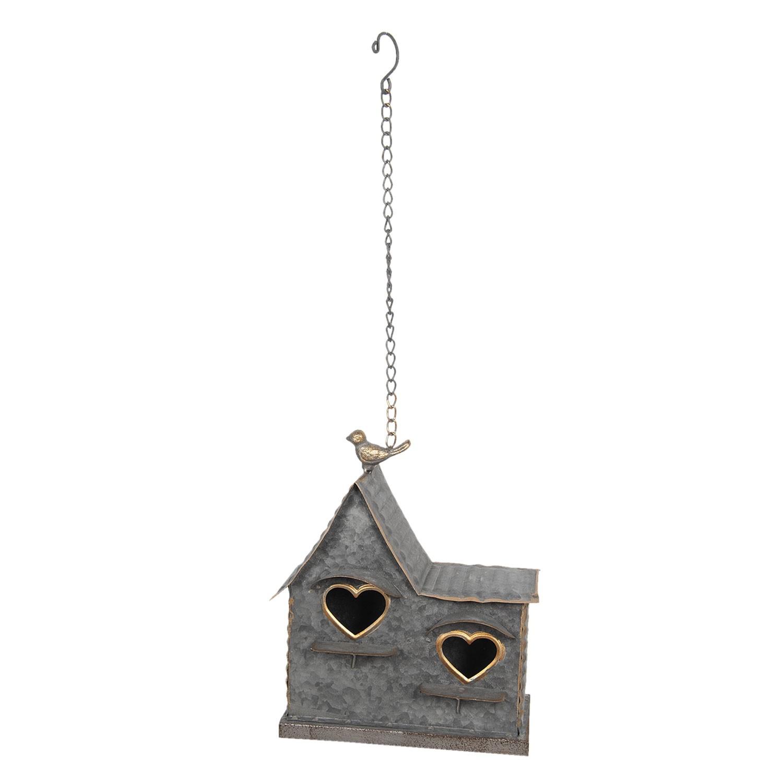Clayre & Eef Kovová závěsná dekorace ptačí budky se srdcem - 25*12*25 cm
